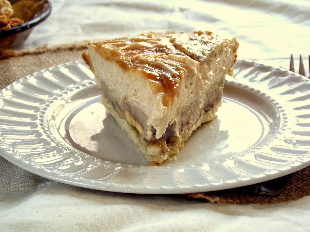Close Up of a Slice of Vegan Banana Pie on a Plate