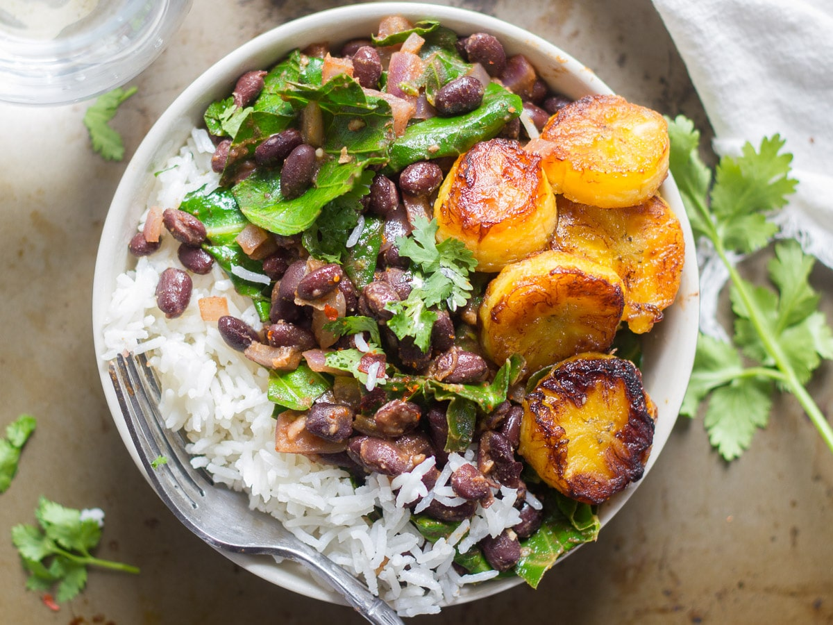 Cuban Black Beans And Rice With Collards And Plantains Connoisseurus Veg