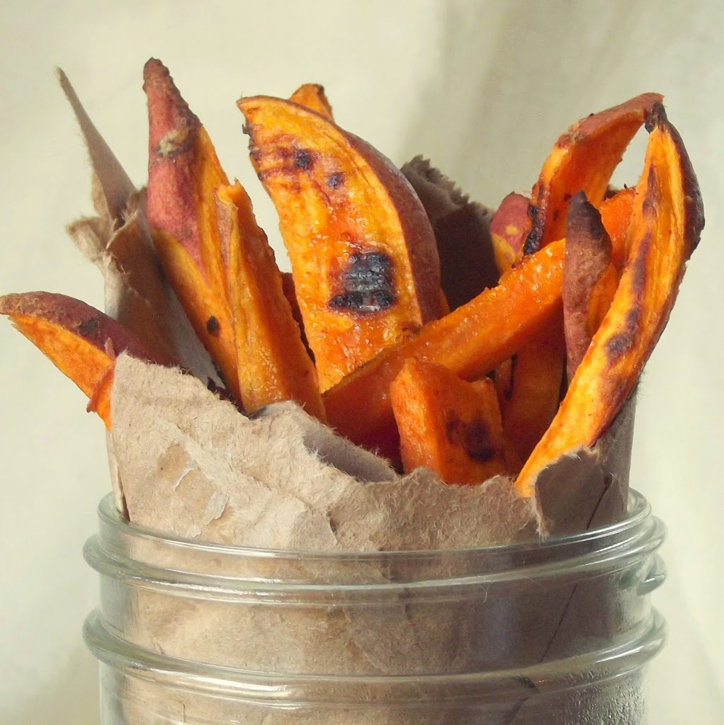 Close up of Sweet Potato Fries in a Jar
