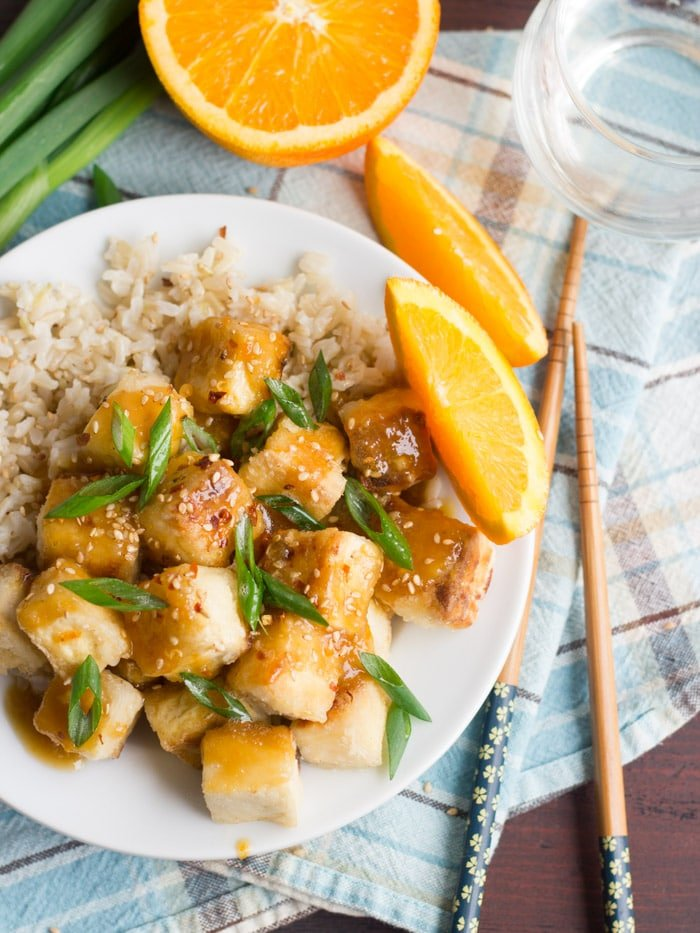 tofu is made by smothering crispy pan-fried tofu chunks in a sweet