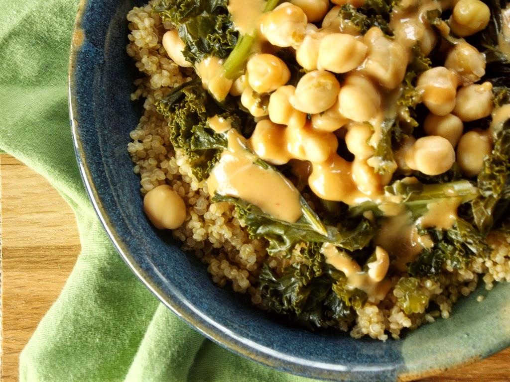 Tahini-Sriracha Dressed Kale and Chickpeas over Quinoa