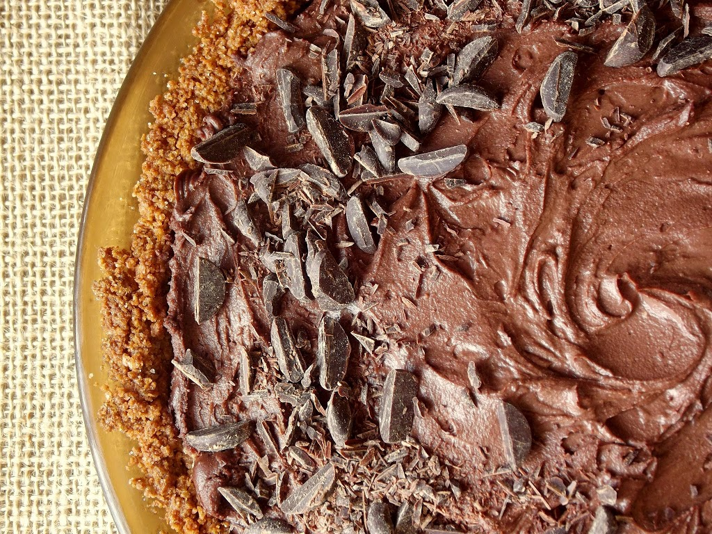 Close Up of a Vegan Mud Pie Topped with Chocolate Shavings