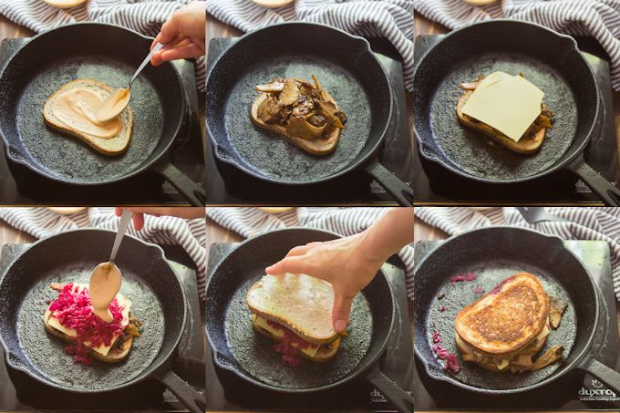 Collage Showing the Steps for Assembling and Grilling a Vegan Reuben Sandwich
