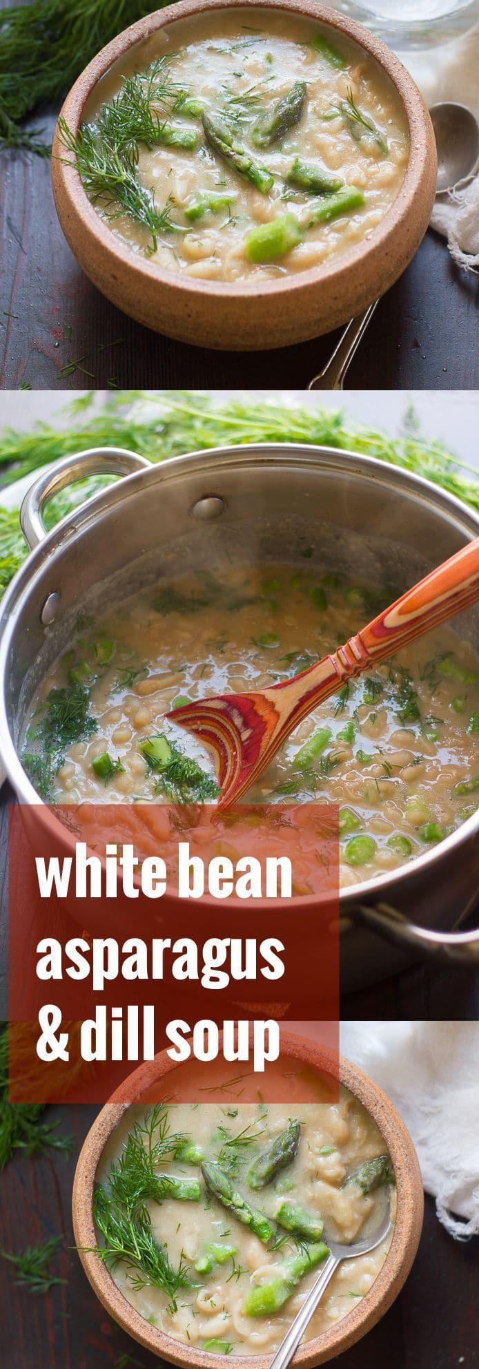 Creamy White Bean Asparagus & Dill Soup