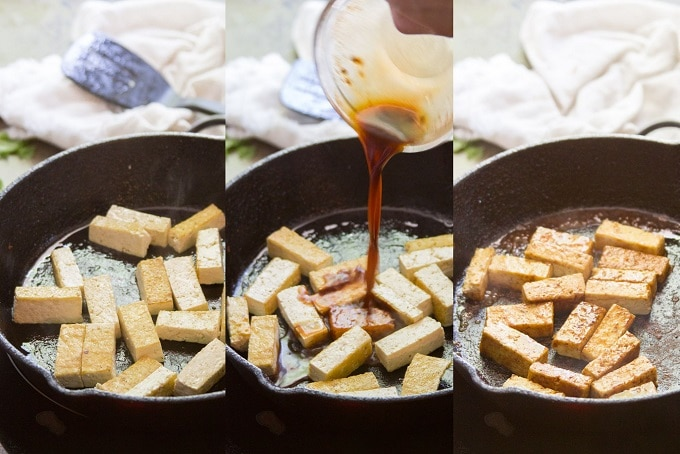 Collage Showing Steps For Making Tofu for Peach Summer Rolls: Pan-Fry Tofu Strips, Add Sauce, Simmer Until Sauce Coats the Tofu