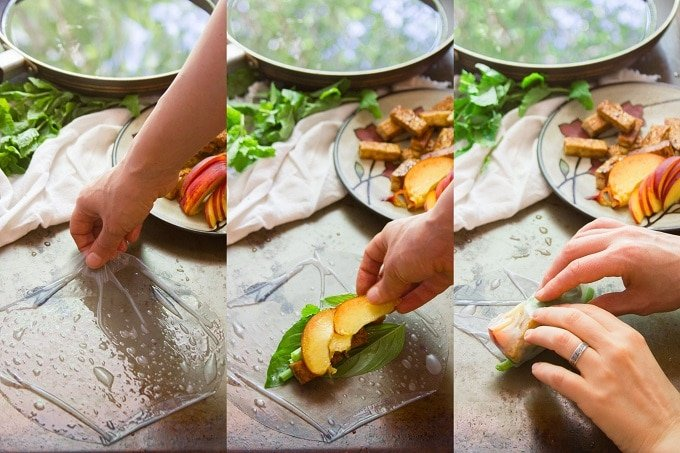 Collage Showing Steps for Wrapping Tofu & Peach Summer Rolls: Arrange Softened Rice Paper on A Work Surface, Arrange Fillings on Rice Paper, and Roll Fillings into Rice Paper