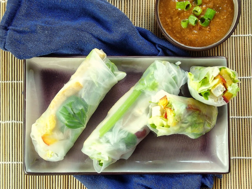 ... tofu summer rolls with baked tofu and sweet and savory dipping sauce