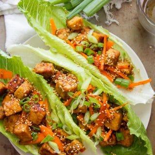 Ginger Sesame Tempeh Vegan Lettuce Wraps