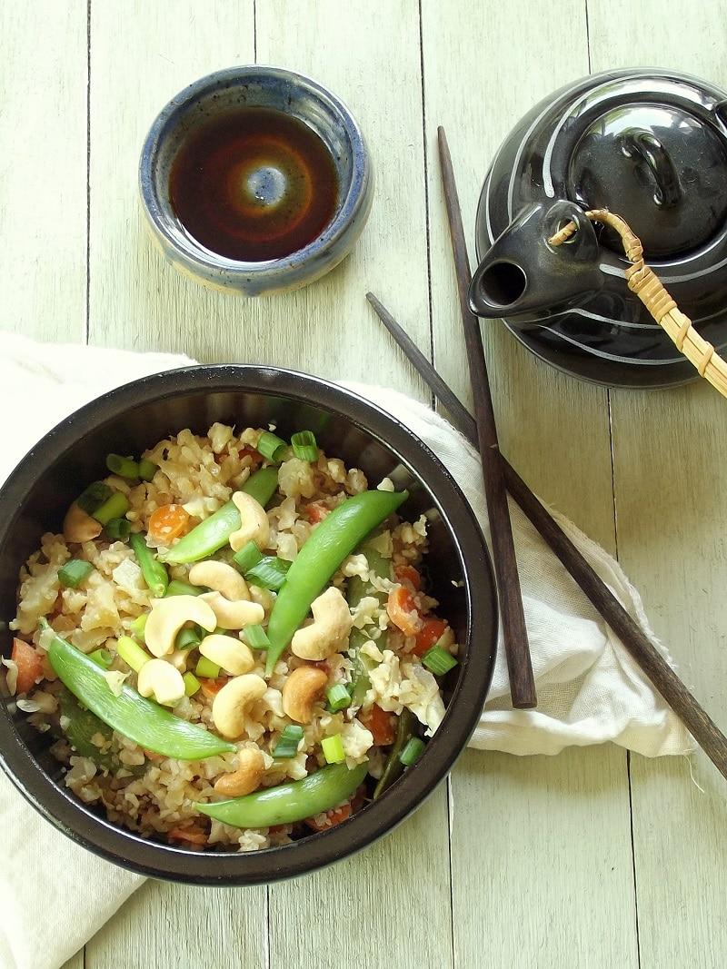 cauliflower fried rice top portrait