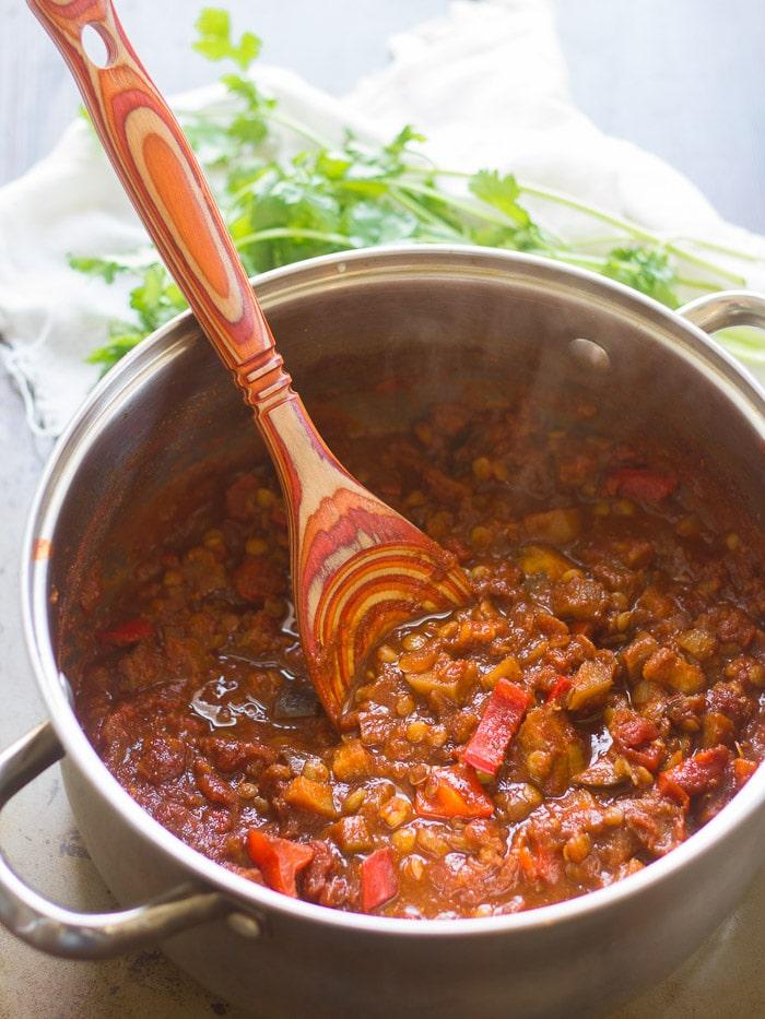 Eggplant Lentil Porter Chili