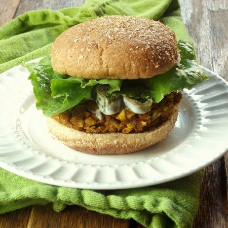 Close Up of a Cauliflower Chickpea Masala Burger on a Plate