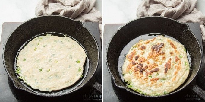 Side By Side Images Showing a Scallion Pancake Cooking on Each Side