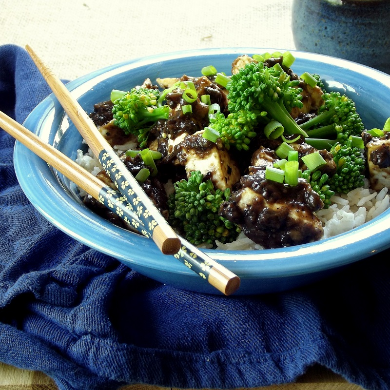 Crispy pan-fried tofu with Chinese black bean sauce, made from ...