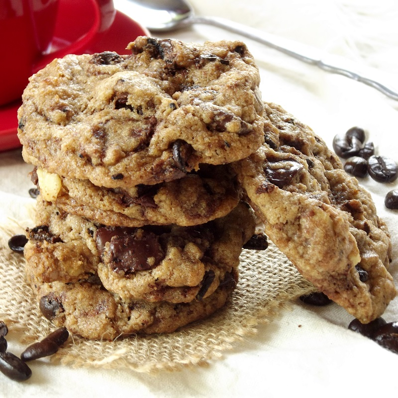 Close Up of a Stack of Espresso Bean Chocolate Chip Cookies