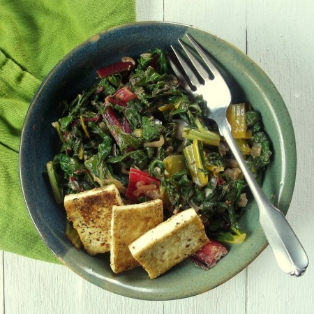 Swiss Chard With Horseradish Mustard and Pan-Fried Tofu