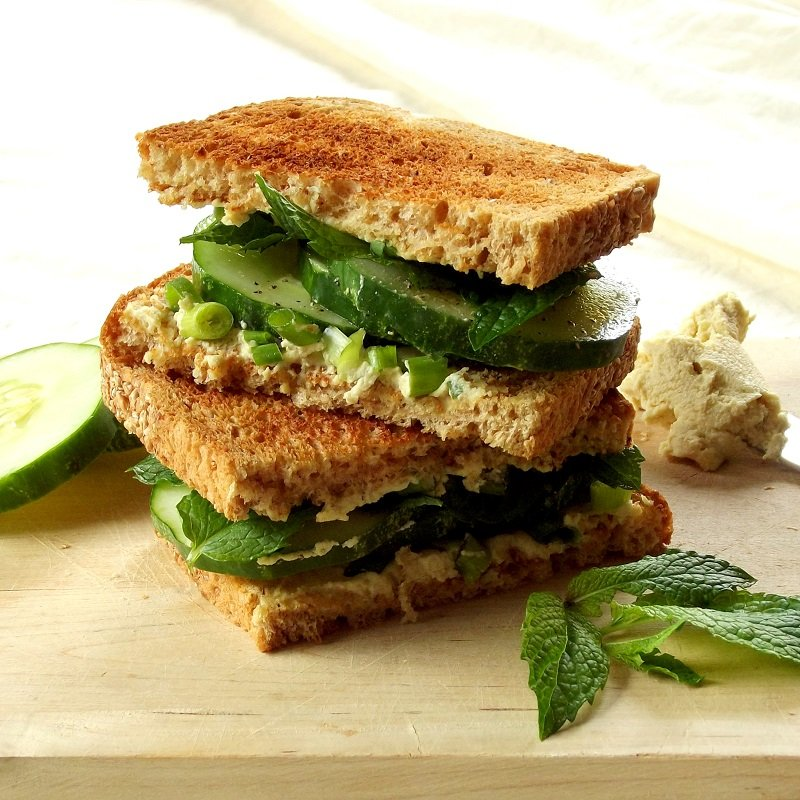 Vegan Cream Cheese Cucumber Mint Sandwiches