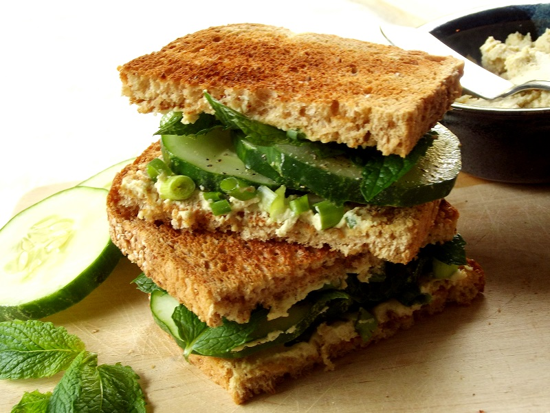 vegan cucumber sandwich side