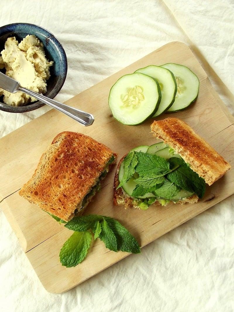 vegan cucumber sandwich top portrait