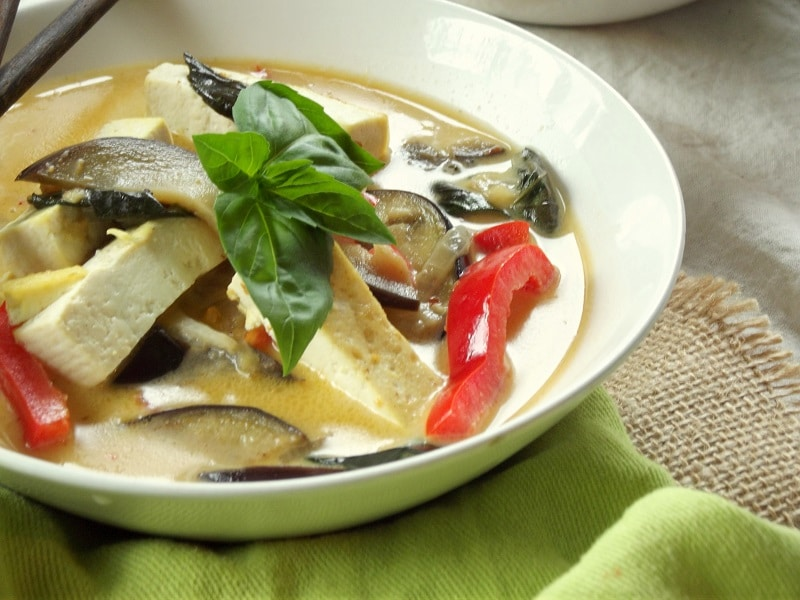 Thai Red Curry with Tofu and Eggplant - Connoisseurus Veg
