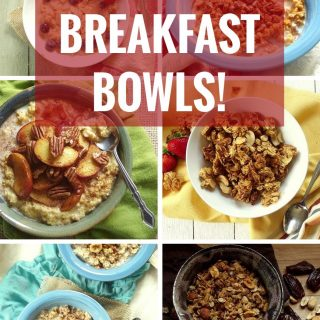 """Graphic Containing Photos of Vegan Breakfast Bowls with Text Overlay Reading """"50 Vegan Breakfast Bowls"""""""