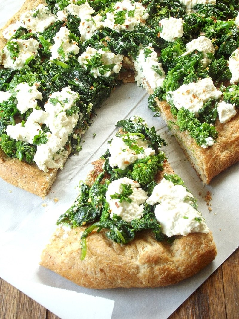 Vegan Broccoli Rabe & Cashew Ricotta White Pizza