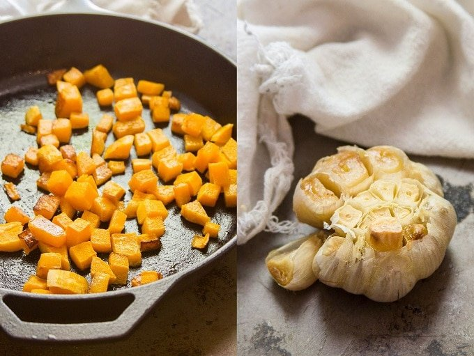 Side By Side Images of Roasted Butternut Squash and Garlic for Making Butternut Squash Hummus