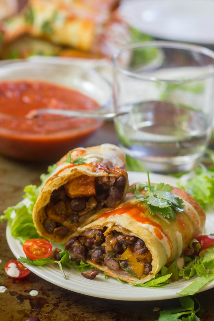 Butternut Squash & Black Bean Chimichangas