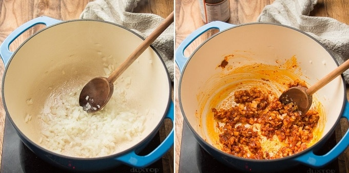 Side By Side Images Showing Steps 1 and 2 for Making Butternut Squash Curry: Cook Onions, and Add Garlic and Curry Paste