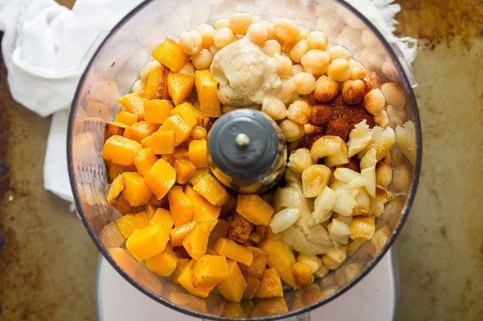 Food Processor Bowl Filled with Ingredients for Making Butternut Squash Hummus