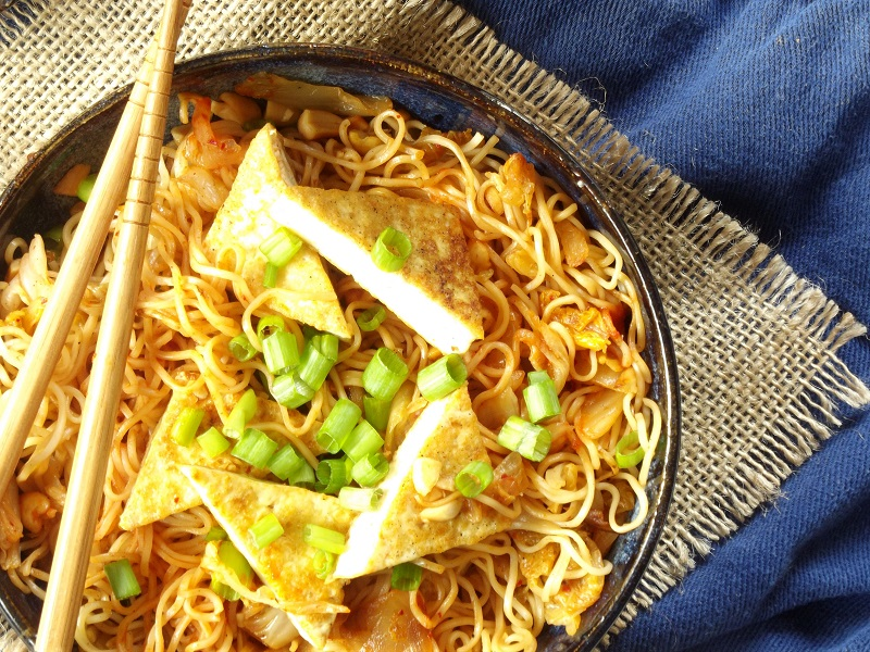 Stir-Fried Kimchi Ramen with Tofu and Peanuts