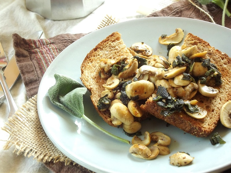 Sautéed Mushrooms and Sage on Toast