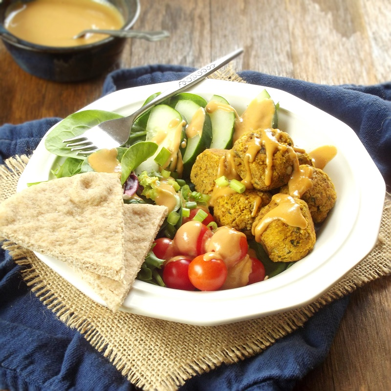 Baked Pumpkin Falafel Bowls with Maple Tahini Dressing