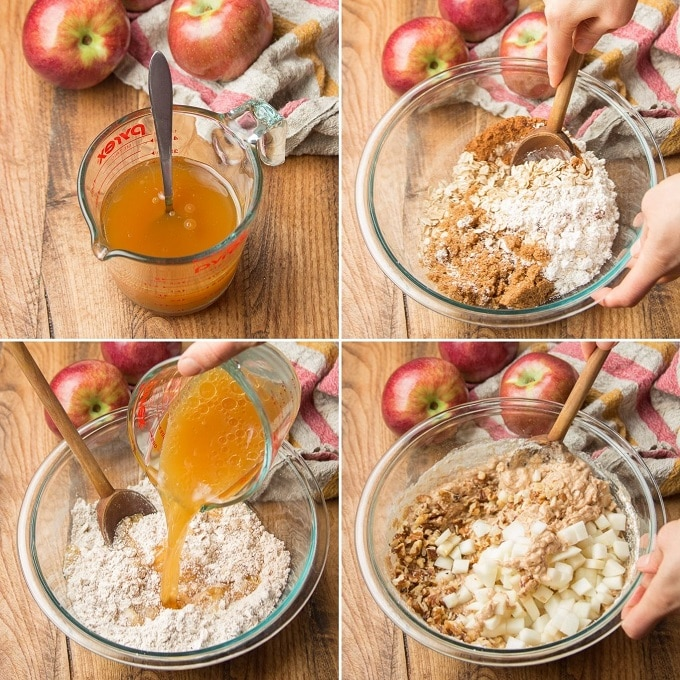 Collage Showing Steps for Making Vegan Apple Cider Muffins: Mix Liquid Ingredients, Mix Dry Ingredients, Combine Liquid and Dry Ingredients, and Add Apples and Nuts