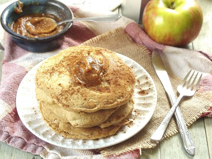 Caramelized Apple Pancakes with Peanut Butter Maple Topping