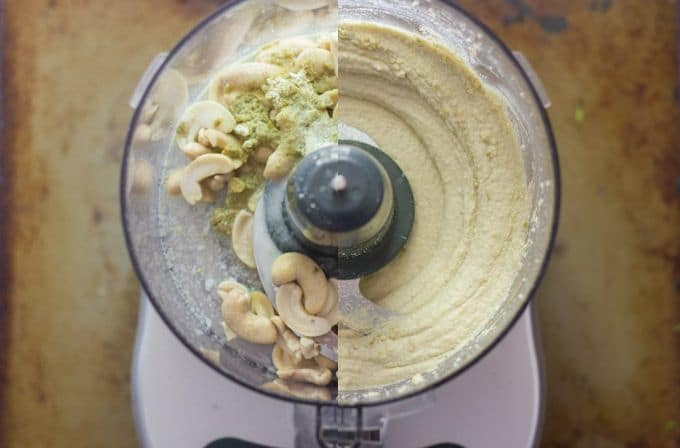 Collage Showing Cashew Wasabi Mayo in a Food Processor Bowl Before and After Blending