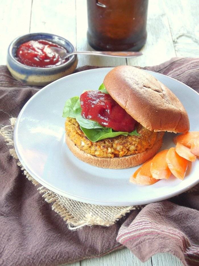 Walnut Carrot Burgers with Spicy Maple Ketchup