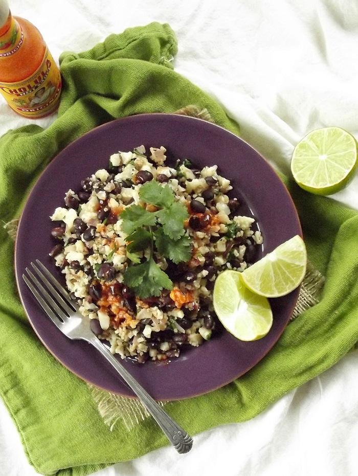 cauliflower rice and beans top portrait
