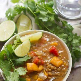 Curried Sweet Potato Lentil Soup