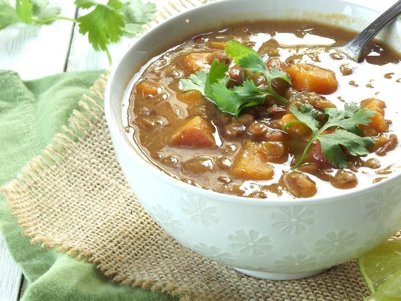 curry lentil sweet potato soup side detail