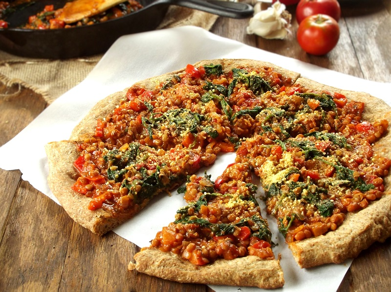 Spinach & Lentil Pizza with Cashew Parmesan