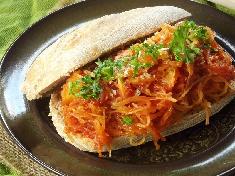 spaghetti squash sandwich detail