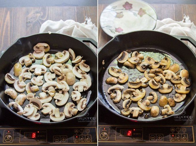 Collage Showing Two Stages of Sautéing Mushrooms