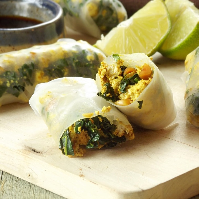 Curry Tofu Autumn Rolls with Sweet Ginger Sauce