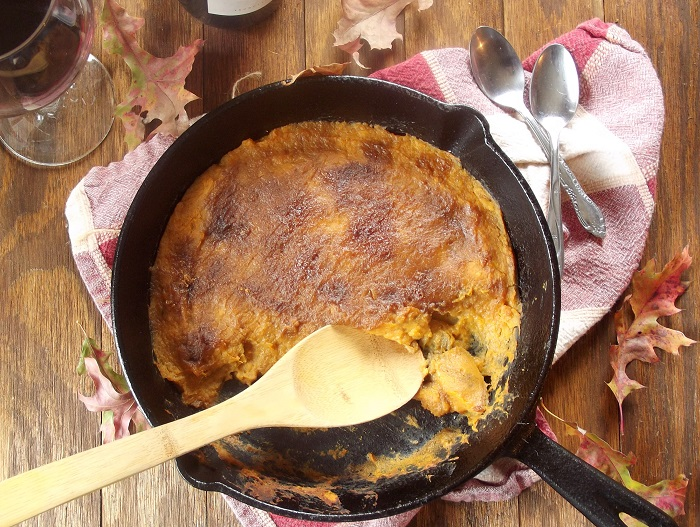 bruleed sweet potatoes top skillet