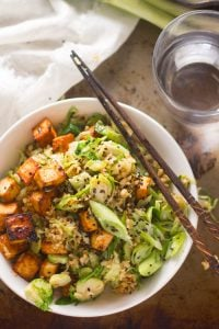 Brussels Sprout Fried Rice with Spicy Baked Tofu
