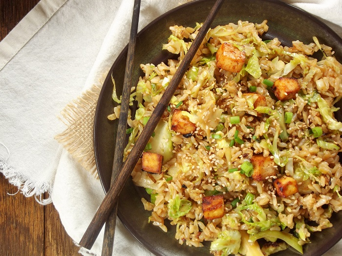 Brussels Sprout Fried Rice with Spicy Baked Tofu..