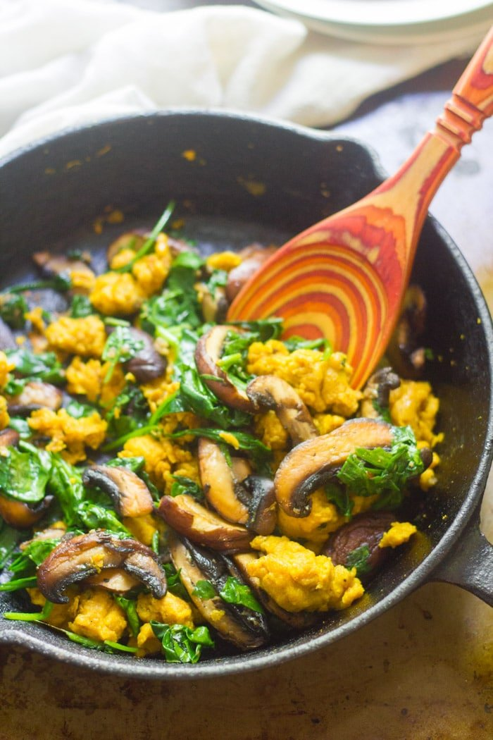 Savory Spinach & Mushroom Chickpea in a Skillet with Wooden Spoon