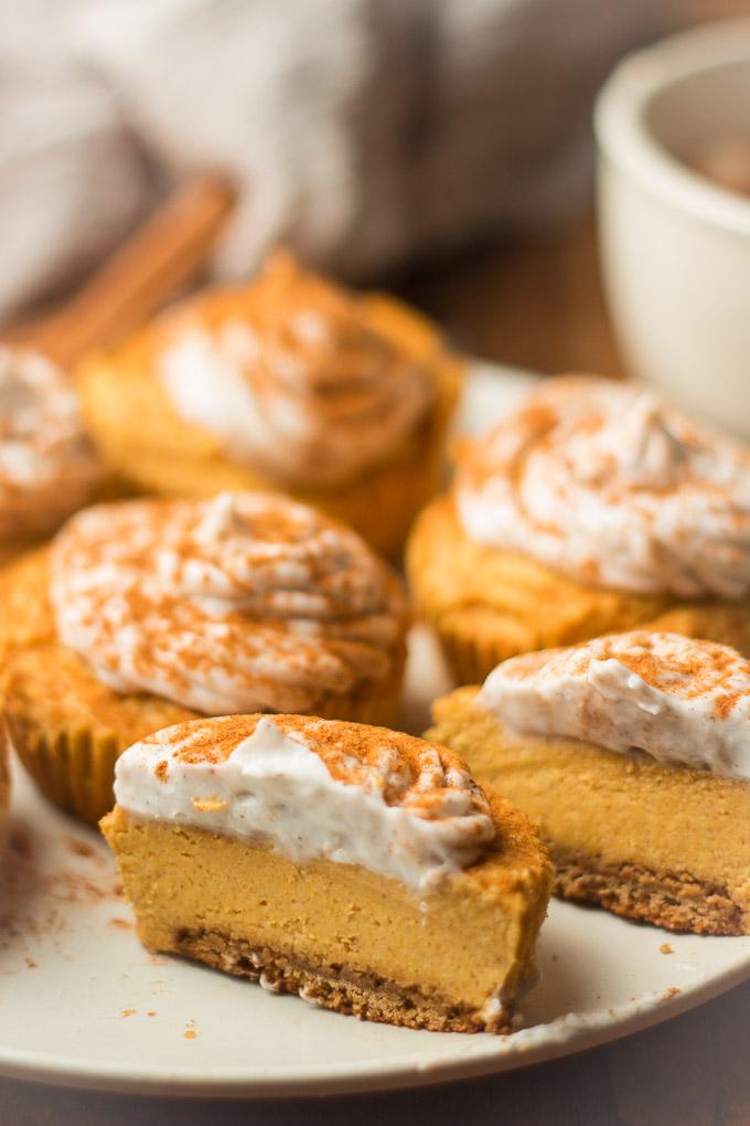 Close Up of a Mini Vegan Pumpkin Cheesecake Cut in Half