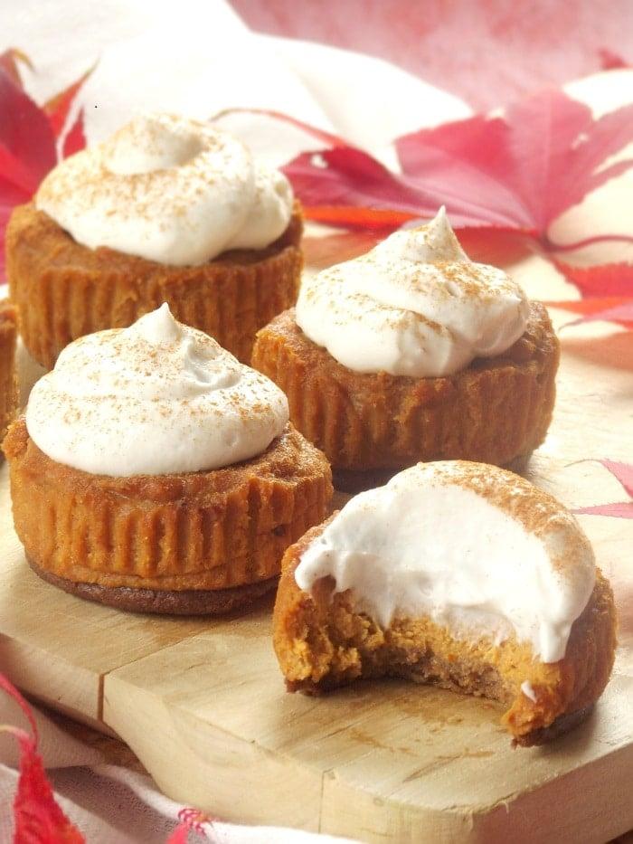 mini vegan pumpkin cheesecakes portrait