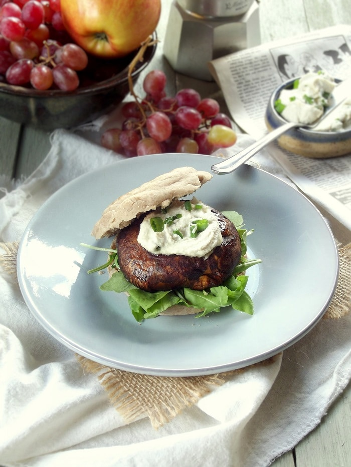 Smoky Portobello Breakfast Sandwiches with Cashew Cream Cheese
